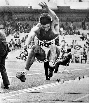 ROBERTO CARMONA (1943- ). Mexican athlete. Carmona competing in the long jump event at the 1968 Summ