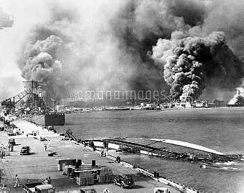 WORLD WAR II: PEARL HARBOR. Scene after the Japanese attack on 7 December 1941.