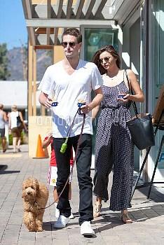 Miranda Kerr, Flynn Bloom, Evan Spiegel,Miranda Kerr Bra-Less in a Jumpsuit While Enjoying Time With