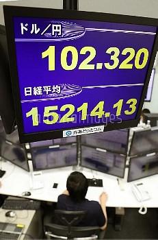 東証、一時1万5千円回復 株価と円相場を示すボード【要事前申請(TV番組および新聞記事使用不可)】