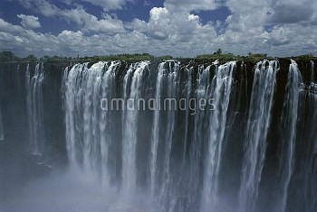 Victoria Falls cascading 420 feet into chasm, largest waterfall the world, UNESCO World Heritage Sit