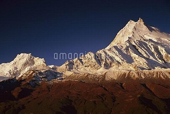 Manaslu (8,156 meters) at dawn, Mansiri Himal region of the Nepalese Himalayas, Nepal