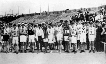 The competitors in the marathon line up at the start: (l-r, all USA except where stated) gold medall