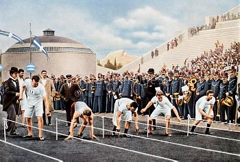 General view of the start of a heat, with USA's Thomas Curtis (second l) and Denmark's Eugen Schmidt