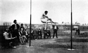 USA's Ray Ewry clears the bar to win gold, one of ten Olympic golds he collected during his career