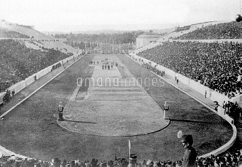 A view of the stadium in Athens at which the first of the modern Olympic Games took place in 1896