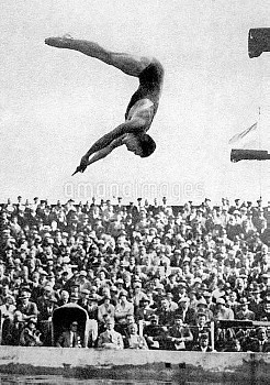 USA's Peter Desjardins, gold medallist in highboard and springboard diving
