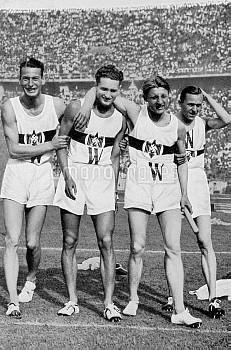 (L-R) The Germany team who won bronze: Friedrich von Stulpnagel, Harry Voigt, Rudolf Harbig, Helmut