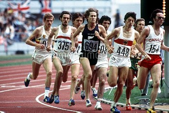 New Zealand's John Walker (694), Great Britain's Steve Ovett (375) and West Germany's Thomas Wessing