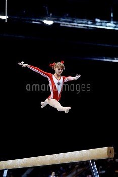 USSR's Yelena Naimushina in action on the beam