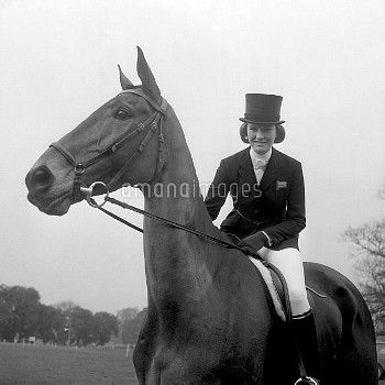 Mary Gordon-Watson, on Cornishman V, part of the Olympic Great Britain Equestrian Team. She went on