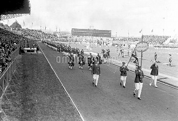 British athletes marching past the Royal stand during the opening ceremony of the Olympic games in P