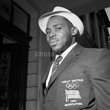 Weightlifter Louis Martin before leaving London for the Rome Olympic Games. He won a bronze medal in