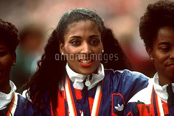 USA's Florence Griffith-Joyner, who won three gold medals and one silver medal during the Seoul Game