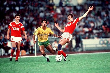 Action from the Olympic final between Brazil and USSR
