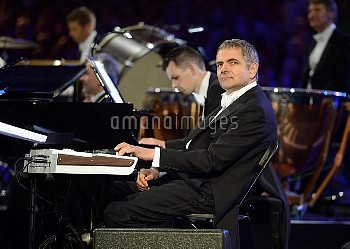 Rowan Atkinson performs during the London Olympic Games 2012 Opening Ceremony at the Olympic Stadium
