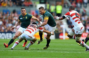 South Africa's Jean De Villiers in action during the Rugby World Cup match at the Brighton Community