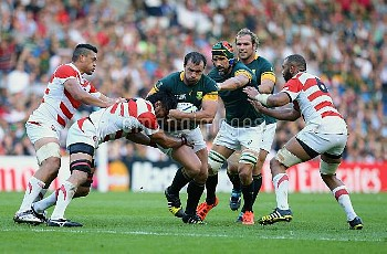 South Africa's Bismarck Du Plessis (middle) in action during the Rugby World Cup match at the Bright