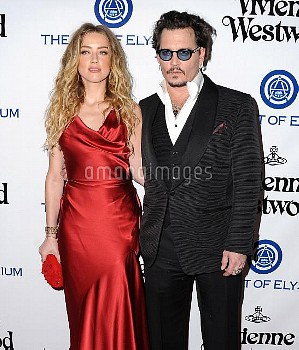 Amber Heard, Johnny Depp attending the Art Of Elysium's 9th Annual Heaven Gala held at 3LABS