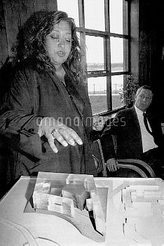File photo dated 15/09/1994 of architect Dame Zaha Hadid with a model of her design for the Cardiff