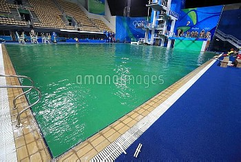 A general view of the green water at the Maria Lenk Aquatics Centre on the fourth day of the Rio Oly