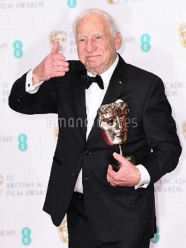 Mel Brooks with the BAFTA Fellowship in the press room during the EE British Academy Film Awards hel