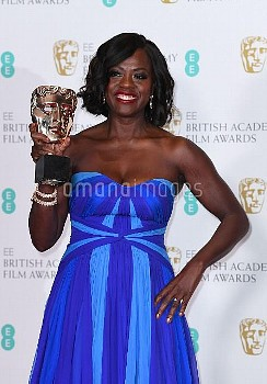 Viola Davis with the award for Best Supporting Actress in the press room during the EE British Acade
