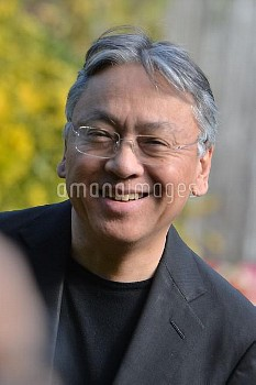 British author Kazuo Ishiguro, who has won this year's Nobel Prize In Literature, smiles as he meets