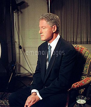 August 17, 1998, Washington D.C., USA: U.S. President Bill Clinton takes a pensive moment prior to a