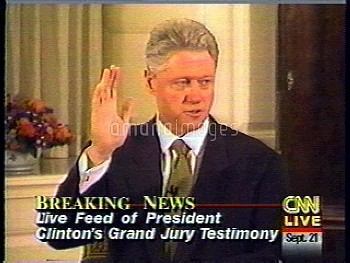 August 17, 1998, Washington, District Of Columbia, USA: U.S. President Bill Clinton answers question