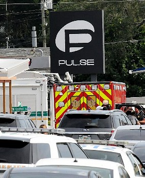 June 12, 2016 - Orlando, Florida, United States - An ambulance is seen outside the Pulse nightclub i