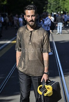 June 20, 2016 - Milan, Italy: Guest outside the Fendi show during the Milan Men's Fashion Week Sprin