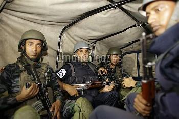 July 2, 2016 - Dhaka, Bangladesh: Bangladeshi Navy Seals sit in vehicle near the crisis spot. Gunmen