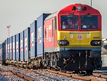 January 18, 2017 - London, United Kingdom: The first container train carrying textiles and consumer