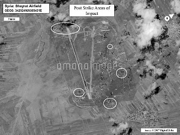 April 7, 2017 - Syria: Battle damage assessment image of Shayrat airfield following U.S. Tomahawk la