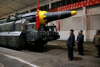 Circa May 2017 - Pyongyang, North Korea: North Korean leader Kim Jong Un inspects the intercontinent