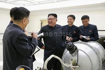 September 3, 2017 - Pyongyang, North Korea: North Korean leader Kim Jong-un during a briefing by sci