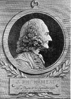 Jean-Philippe Rameau (1683-1764), French composer. Engraving by Sturm after Caffiéri.
