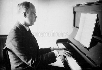 Serge Prokofiev (1891-1953), pianist and Russian composer.