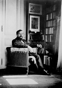 Claude Debussy ( 1862-1918 ), French composer, in his study, in 1910. FA-20859