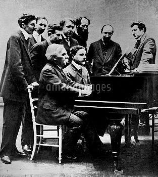 Gabriel Fauré (1845-1924) and Jean Roger-Ducasse (1873-1954), French composers, at the piano, accomp