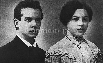 Béla Bartók (1881-1945), Hungarian composer, 23 years old, with her sister Elsa.