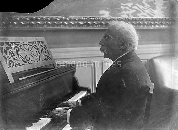 Gabriel Fauré (1845-1924), French composer, at the piano.