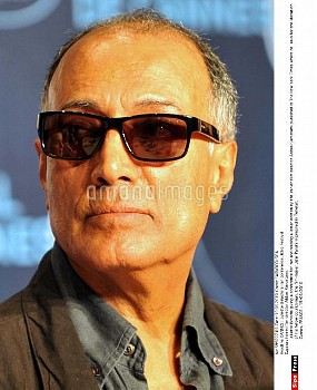 Iranien film director Abbas Kiarostami. Juliette Binoche giving a conference for Iran and reading a