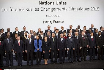 Picture family of world leaders after opening of the UN conference on climate change COP21, on Novem