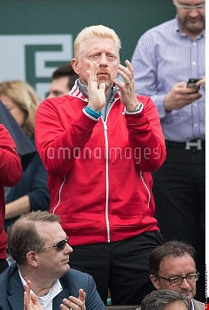 Trainer of Novak Djokovic, Boris Becker reacts after the victory of  Serbia's Novak Djokovic during