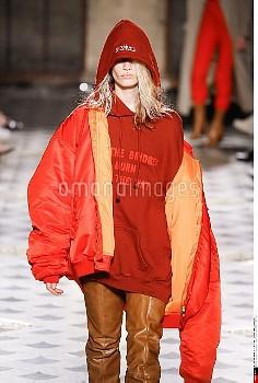 Vetements, Woman model catwalking during the Paris, womenswear fashion shows, winter 2016 - 2017/PIX