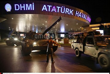 Military coup attempt in Turkey. A pro governmental man react to a Turkish tank at the entrance to I