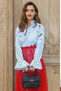 Jessica Alba attends the Valentino show as part of the Paris Fashion Week Womenswear Spring/Summer 2