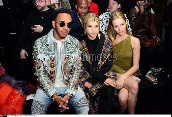 Lewis Hamilton, Sofia Richie, Ilona Smet . Balmain Menswear Fall/Winter 2017-2018 show as part of Pa